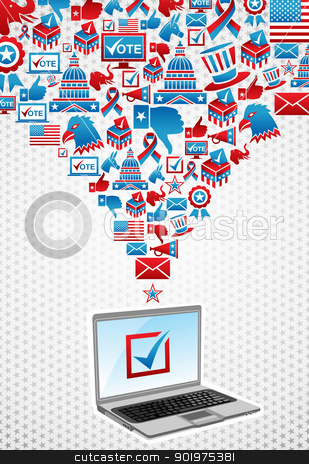 USA elections electronic voting stock vector clipart, USA elections online voting: notebook with politics icons splash over white stars background. Vector file layered for easy manipulation and custom coloring. by Cienpies Design