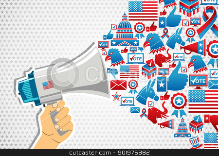 US elections: politics message promotion stock vector clipart, US elections politics marketing communication: hand holding a megaphone with icons splash. Vector file layered for easy manipulation and custom coloring. by Cienpies Design