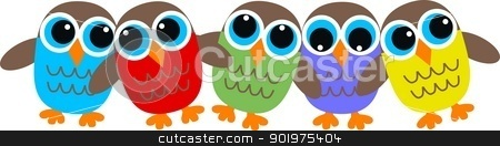 colorful owls stock vector clipart, a header for website with colorful owls by Popocorn