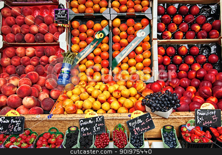 Fresh fruit in the street market, Paris, France stock photo, Fresh fruit in the street market, Paris, France by Juliet Photography