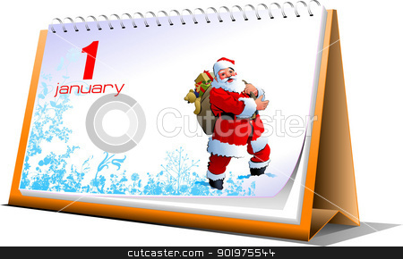vector illustration of desk calendar 1 january new year stock vector clipart vector