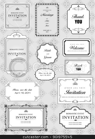 Set of ornate vector frames and ornaments with sample text stock vector clipart, Set of ornate vector frames and ornaments with sample text. Perfect as invitation or announcement. All pieces are separate. Easy to change colors and edit. by Leonid Dorfman