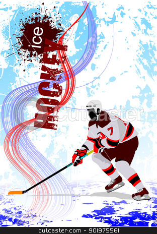 Ice hockey players. Colored Vector illustration for designers stock vector clipart, Ice hockey players. Colored Vector illustration for designers. Poster. by Leonid Dorfman
