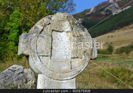 old stone cross stock photo, old stone cross near Rimetea, Romania, up in the Trascau mountains by coroiu octavian