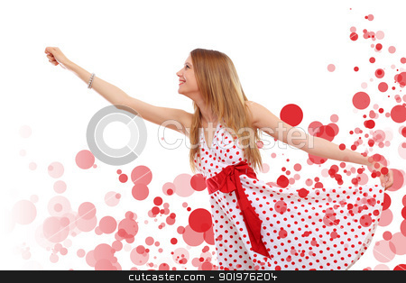 Young beautiful woman in red dress stock photo, Young blond woman in red dress with red circles around by Sergey Nivens