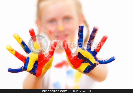 happy child with paint on the hands stock photo, little child with hands painted in colorful paints ready for hand prints by Sergey Nivens