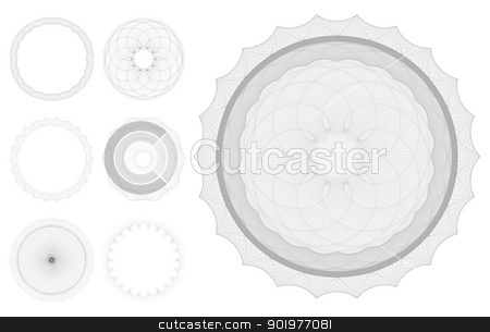 Guilloche patterns stock vector clipart, Set of Guilloche patterns like those used for security on banknotes and certificates. In vector file lines are strokes for easy thickness and color changes. Intelligently arranged in layers by Christos Georghiou