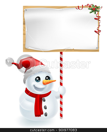 Christmas Snowman and Sign stock vector clipart, A cute Christmas snowman with Santa hat holding a Christmas sign by Christos Georghiou