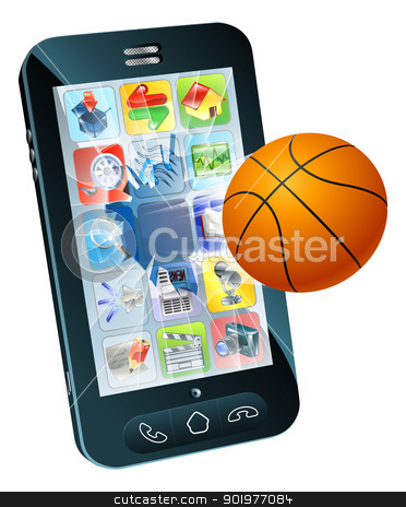 Basketball ball cell phone stock vector clipart, Illustration of a basketball ball flying out of cell phone screen by Christos Georghiou