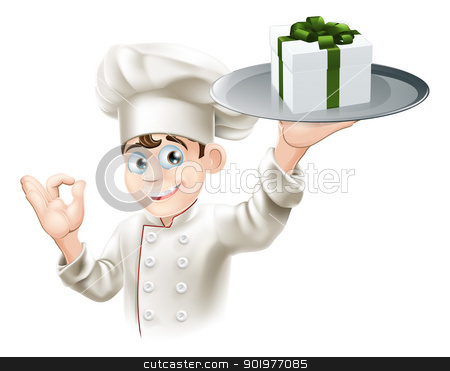 Chef giving gift stock vector clipart, A chef with a gift on a platter. Could be concept for dining rewards or vouchers or gift card or other by Christos Georghiou