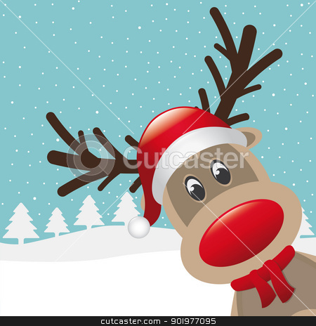 reindeer red nose and hat scarf stock photo, rudolph reindeer red nose and hat scarf by d3images