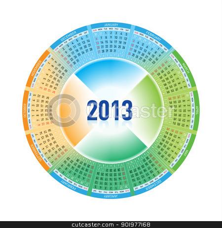 Calendar stock photo, Calendar for Twelve-Thirteen. Rotating design on white by dvarg