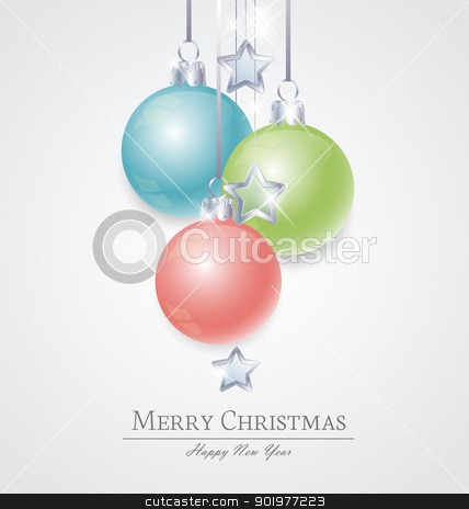 Christmas ball stock vector clipart, christmas background with various colors christmas balls  by Miroslava Hlavacova