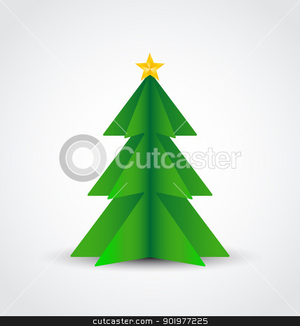 Christmas tree stock vector clipart, Christmas tree made of paper, vector illustration by Miroslava Hlavacova