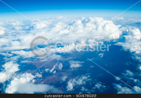 blue sky with clouds stock photo, Beautiful clouds sky with sun over Egypt by Aikon
