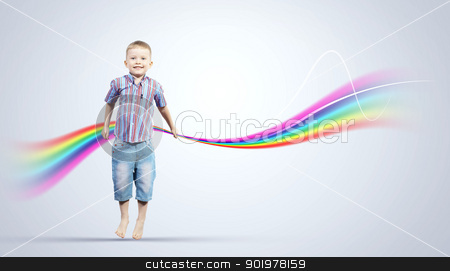happy kid jumping stock photo, Photo of little boy jumping and raising hands by Sergey Nivens