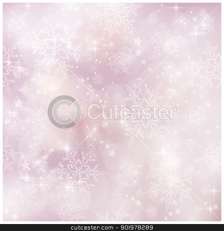 Soft and blurry Winter, Christmas pattern stock vector clipart, Abstract soft blurry background with bokeh lights, snow flakes and stars. The festive feeling makes it a great backdrop for many winter, Christmas designs. Copyspace. by Ina Wendrock