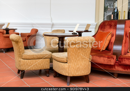 Vintage cafe with easy armchairs and sofas stock photo, Vintage cafe with easy armchairs, sofas and wooden table by Iryna Rasko