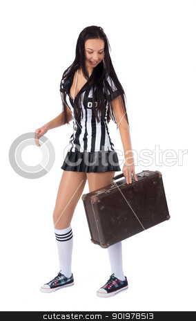 Sexy Soccer Referee stock photo, Beautiful Soccer Referee with old suitcase. Isolated on white by Aikon