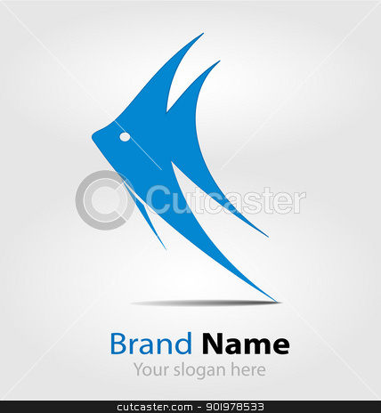Blue fish brand logo/logotype stock vector clipart, Originally designed blue fish brand logo/logotype by Vladimir Repka