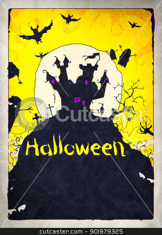 halloween stock photo, Painted Halloween background for party invitation by Markus Gann