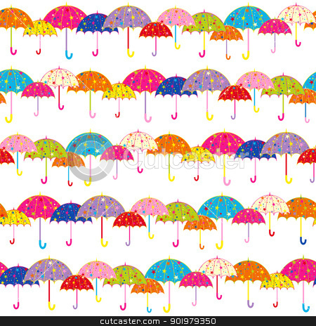 Colorful Umbrella Seamless Pattern stock vector clipart, Colorful Umbrella Seamless Pattern Background by meikis