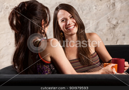 Beautiful Woman Laughing with Friend stock photo, Two beautiful European ladies sitting indoors laughing by Scott Griessel