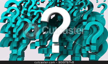 Many question stock photo, 3d image of many question mark isolated in white by carloscastilla