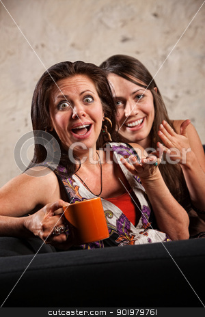 Surprised Women Laughing stock photo, Beautiful European women with surprised reaction and laughing by Scott Griessel