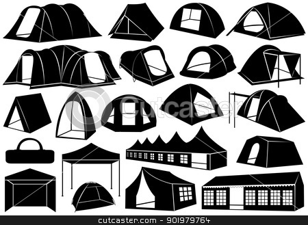 Set of tents stock vector clipart, Set of tents isolated on white by Ioana Martalogu