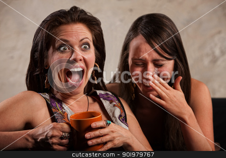 Laughing Friends stock photo, Screaming woman holding coffee mug next to laughing friend  by Scott Griessel