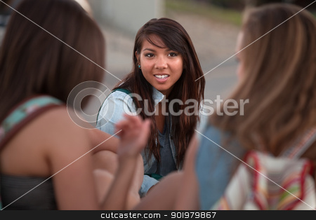 Cute Asian Student with Friends Outside stock photo, Cute Asian teenage student with friends sitting outside by Scott Griessel
