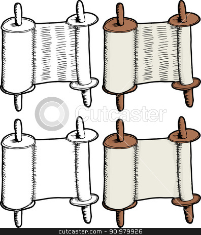 Torah Scroll stock vector clipart, Blank and generic text ancient scroll illustrations by Eric Basir