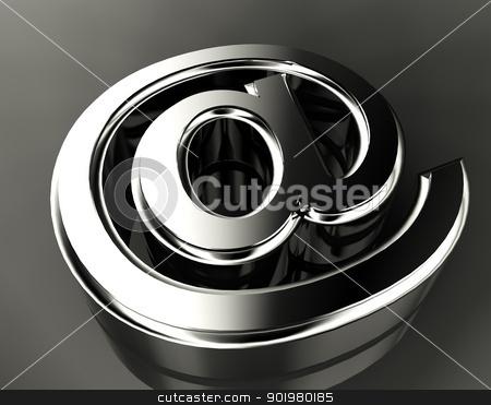 Arroba symbol  stock photo, 3d image of metal arroba symbol by carloscastilla