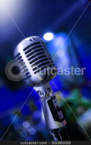 Retro microphone stock photo, Music background with close up image of retro microphone by carloscastilla
