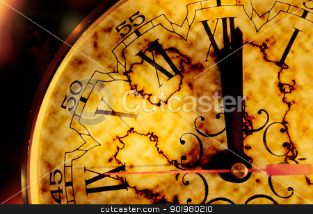 Time concept stock photo, Time concept with grunge old clock by carloscastilla