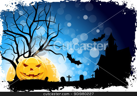 Grungy Halloween Background stock vector clipart, Grungy Halloween Background with Pumpkin, Tree, Grave, Cross and Full Moon by Vadym Nechyporenko