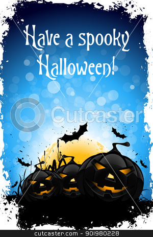 Grungy Halloween Background stock vector clipart, Grungy Halloween Background with Pumpkin, Bats, Grass and Full Moon by Vadym Nechyporenko