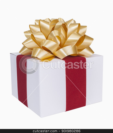 Christmas Present stock photo, Christmas present with gold bow and ribbon, includes clipping path by Bryan Mullennix
