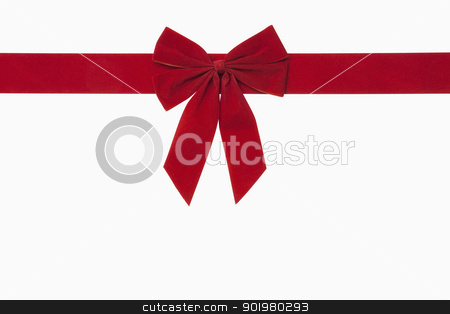 Red Christmas Bow stock photo, Red christmas bow, includes clipping path by Bryan Mullennix