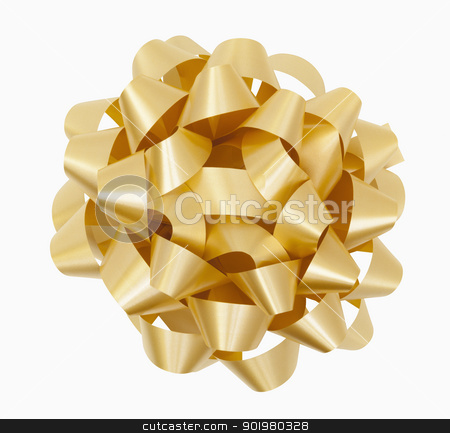 Gold Bow stock photo, Gold Christmas Bow, includes clipping path by Bryan Mullennix
