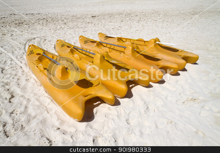 Orange Paddle Boats stock photo, A group of empty orange paddle boats by Kevin Tietz