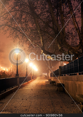 Night cityscape stock photo, Walk with street lamps at night cityscape by carloscastilla