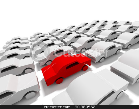 Car concept stock photo, 3D conceptual illustration of car parking with a red car by carloscastilla