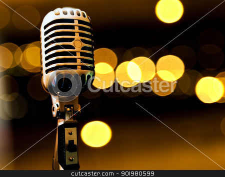 Musical background stock photo, Musical background with microphone and stage lights by carloscastilla