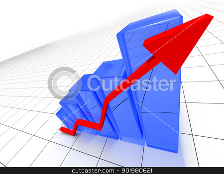 Statistics stock photo, 3D image of statistics bars and arrow by carloscastilla