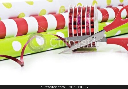 Christmas wrapping paper and ribbon stock photo, Rolls of gift wrapping paper and rolls of ribbon by tish1