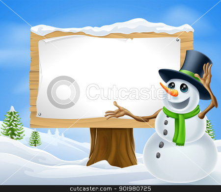 Christmas Snowman Sign stock vector clipart, A cute cartoon snowman in Christmas winter scene with sign by Christos Georghiou