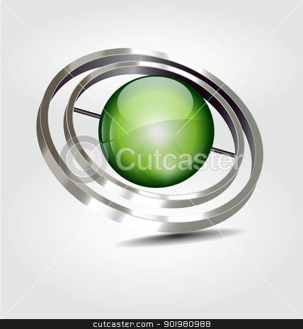 High reflected logo/logotype stock vector clipart, 	Originally designed high reflected logo/logotype with the green sphere by Vladimir Repka