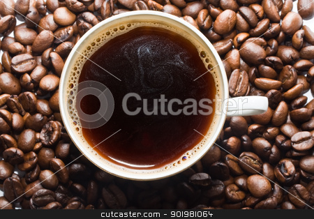 Coffee stock photo, A cup of coffee with coffee  beans by Alexey Popov